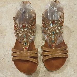 Patrizia by Spring Step Jeweled Sandal Wedge Sz 38